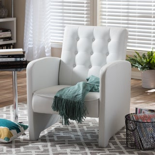 Renswald White PU Leather Upholstered Button Tufted Club Chair