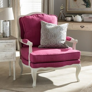 Antoinette Traditional Classic Antiqued French Pink Accent Chair