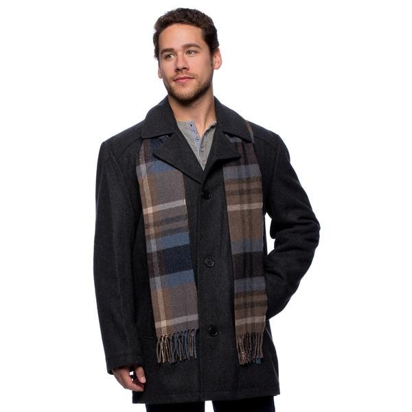 London Fog Men's Wool Blend Button Front Walking Coat
