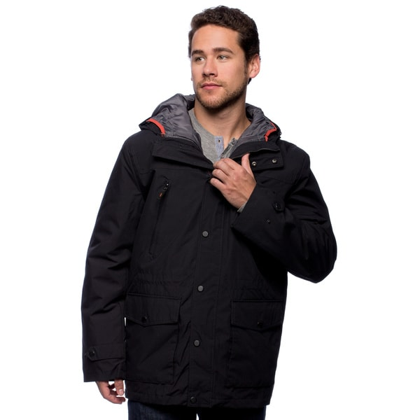 London Fog Men's Hooded Anorak Medium Size in Dk Navy/Orange(As Is Item)