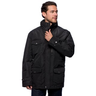 London Fog Men's Aero Faille Front Stand Collar Coat with Hidden Hood