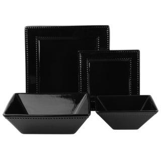 Vivo Black Beaded Square 19-piece Dinner Set