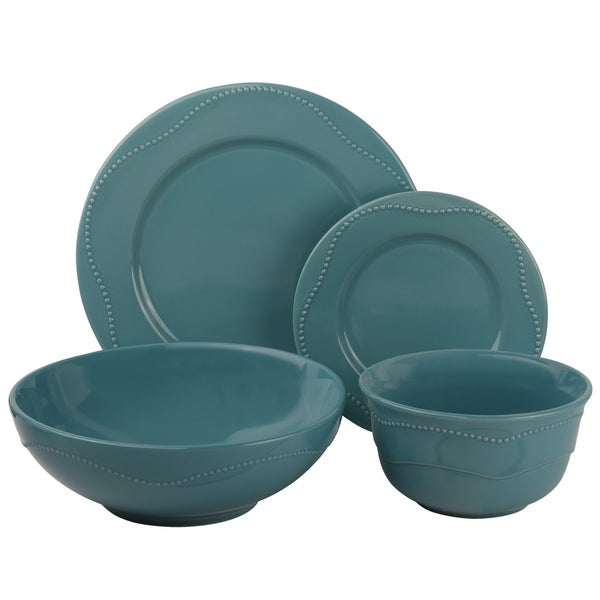 Vivo Teal Beaded 19-piece Dinner Set