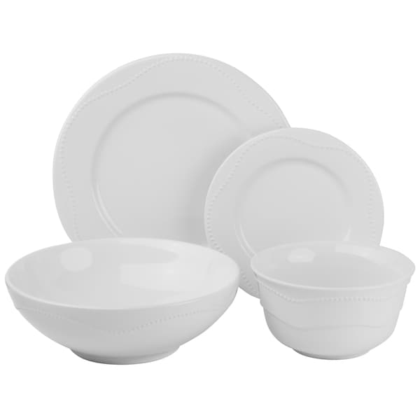 Vivo White Beaded 19-piece Dinner Set