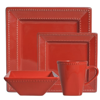 Vivo Red Beaded Square 16-piece Dinner Set