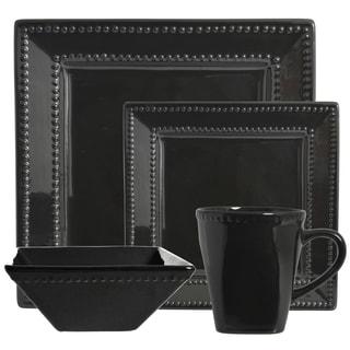 Vivo Black Beaded Square 16-piece Dinner Set