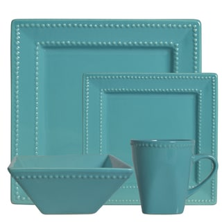 Vivo Teal Beaded Square 16-piece Dinner Set