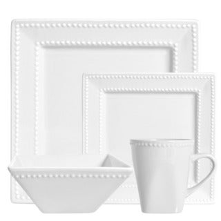 Vivo White Beaded Square 16-piece Dinner Set