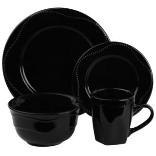 Vivo Black Beaded 16-piece Dinner Set