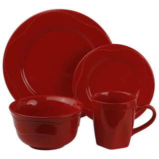 Vivo Red Beaded 16-piece Dinner Set