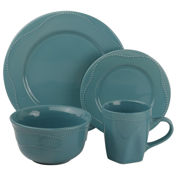 Vivo Teal Beaded 16-piece Dinner Set