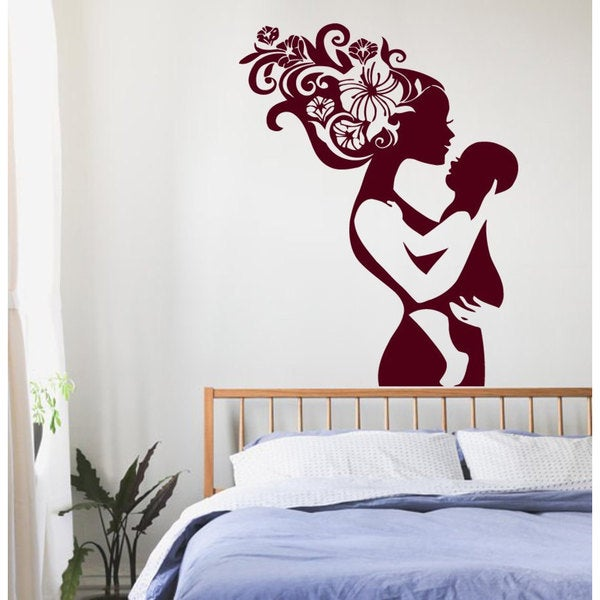 Mother With Baby Vinyl Sticker Wall Art