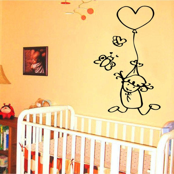 Girl and Balloon Vinyl Sticker Wall Art