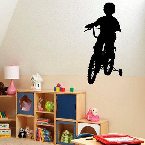 Boy On Tricycle Vinyl Sticker Wall Art