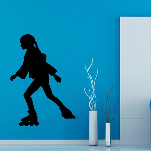 Girl Roller Skating Vinyl Sticker Wall Art
