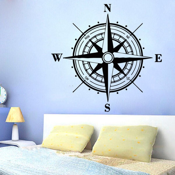 Rose Compass Vinyl Sticker Wall Art 15373327