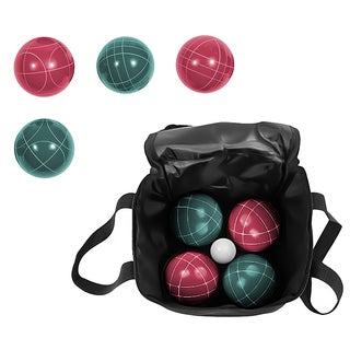 Trademark Innovations Bocce Ball Premium Set with Carry Case Maroon/ Green