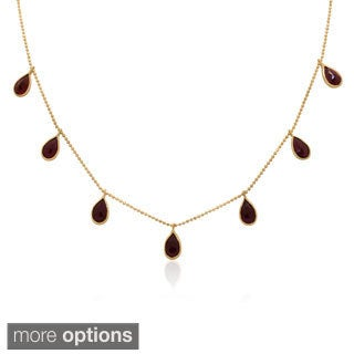 Gioelli 14k Yellow Gold 7-station Gemstone Beaded Chain Necklace
