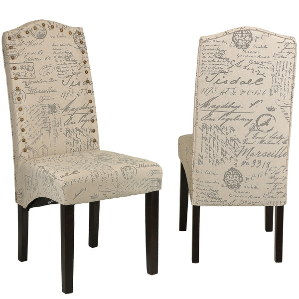 cortesi home miller beige script fabric dining chair set