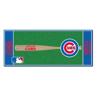 Fanmats Machine-made Chicago Cubs Green Nylon Baseball Runner (2'5 x 6')