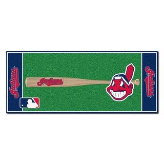Fanmats Machine-made Cleveland Indians Green Nylon Baseball Runner (2'5 x 6')