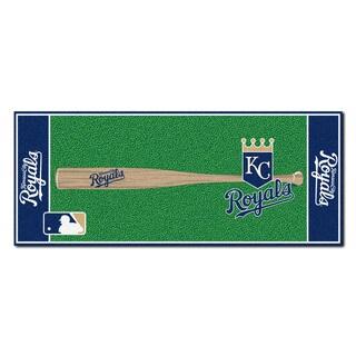 Fanmats Machine-made Kansas City Royals Green Nylon Baseball Runner (2'5 x 6')