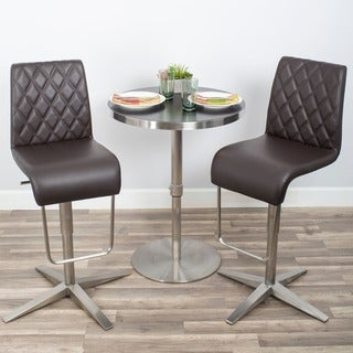 Brushed Stainless Steel Diamond Pattern High-back Adjustable Height Swivel Bar Stool with X Base