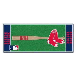 Fanmats Machine-made Boston Red Sox Green Nylon Baseball Runner (2'5 x 6')