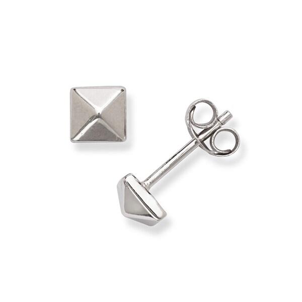 La Preciosa Sterling Silver Pyramid Stud Earrings