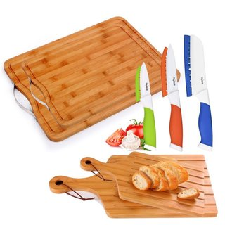 10-piece Bamboo Cutting Board and Ceramic Knife Set