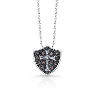 Sterling Silver 1/6ct TDW Brown Diamond Shield Cross Necklace