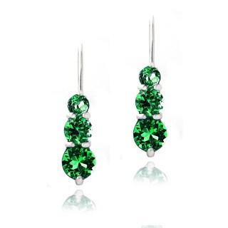 Glitzy Rocks Sterling Silver 2ct Created Green Quartz Three Stone Drop Earrings