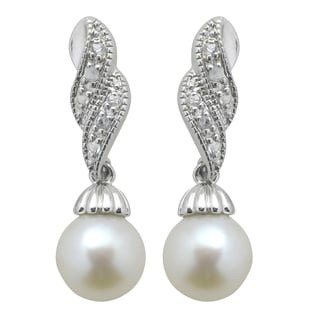 Sterling Silver White Freshwater Pearl and White Topaz Dangle Earrings (8-8.5 mm)