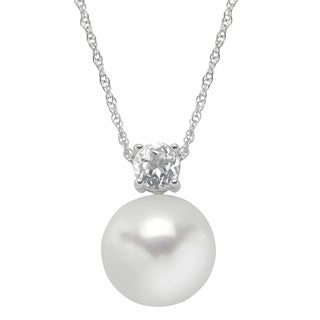 Sterling Silver White Button Pearl and White Topaz Pendant (12-13 mm)