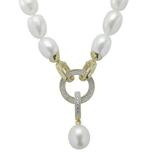 Gold over Silver White Freshwater Pearl Diamond Clasp Necklace (8-9.5 mm) (I-J, I3)