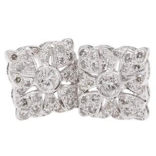 14k White Gold 1/2ct TDW Clustered Diamonds Square Stud Earrings (H-I, I1-I2)