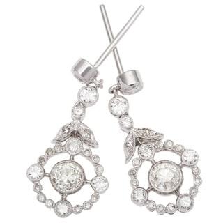 18k White Gold 1 1/4ct TDW Dangling Diamond Earrings (H-I, SI1-SI2)