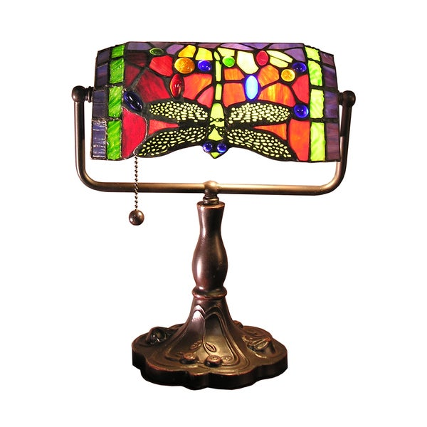 Warehouse of Tiffany Stella 12-inch Red Dragonfly Accent Lamp