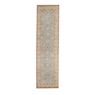 Herat Oriental Afghan Hand-knotted Vegetable Dye Oushak Light Blue/ Ivory Wool Rug (2'7 x 9'7)