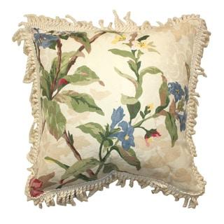 Hilhouse 15-inch Multicolor Floral Decorative Pillow with Trim