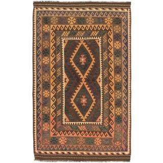 Ecarpetgallery Kashkoli Kilim Brown, Dark Khaki Grey Wool Geometric Kilim (3'3 x 5'3)