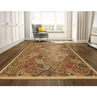 Ottohome Collection Beige Contemporary Paisley Design Area Rug (8'2 x 9'10)