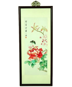 Butterfly and Flowers Watercolor Wall Hanging (China)