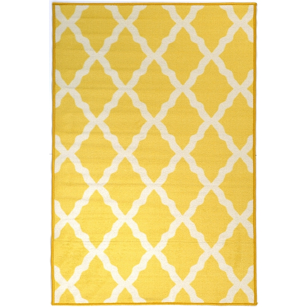 Glamour collection yellow contemporary moroccan trellis design kids rug non slip kitchen and - Yellow kitchen floor mats ...