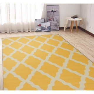 Ottomanson Glamour Collection Yellow Moroccan Trellis Design Non-slip Area Rug