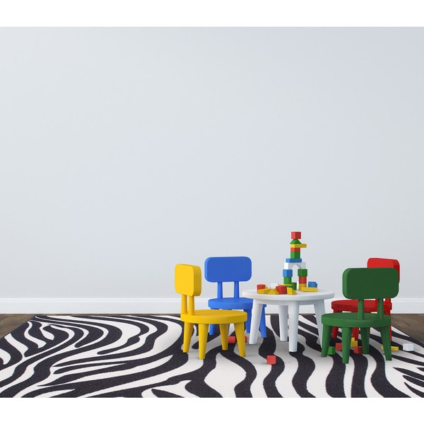 Glamour Collection White, Black Animal Print Zebra Design Kids Rug Non-slip Kitchen and Bathroom Mat Rug (8'2 x 9'10)