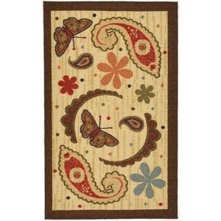 Sara's Kitchen Beige Kitchen Collection Paisley Design Doormat Rug (3'3 x 5')