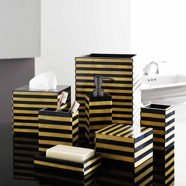 Striped Natural Horn Bath Accessory Collection