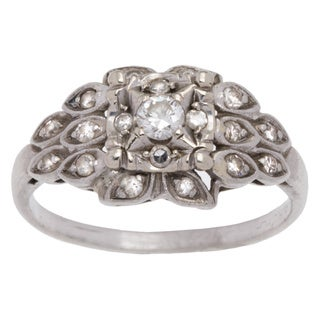 Platinum 1/4ct TDW Antique Diamond Estate Ring (H-I, VS1-VS2) (Size 6.5)