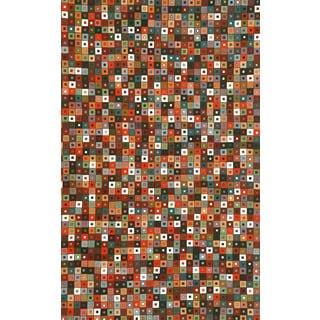 Glitter Ikat Lantern Cream Abstract Area Rug (5'5 x 7'9)